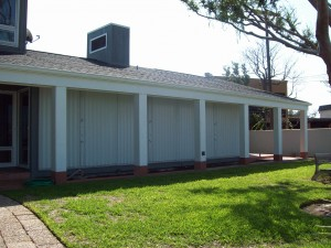 Accordion shutters provide excellent protection from high wind and storms and give you extre security.  Contact John's Shutter and Repair at www.JohnsShutters.com for a free, no obligation quote, phone 409-939-5135.
